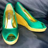 Nine West Shoes   Nine West Green Satin Espadrilles Peep Toe   Color: Green   Size: 8