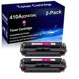 2-Pack (Magenta) Compatible Printer Toner High Yield Replacement for HP 410A | CF413A | Color Toner Cartridge use for HP HP Laserjet Pro M452dn M452dw MFP M477fdn Printer