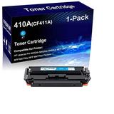 1-Pack (Cyan) Compatible Laser Toner Cartridge High Yield Replacement for HP 410A | CF411A | Laser Printer Toner Cartridge use for HP Laserjet Pro M452dn M452dw MFP M477fdn Printer
