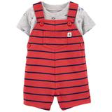 Baby Boy Carter's Boat Tee & Striped Shortalls Set, Infant Boy's, Size: 12 Months, Red