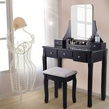 Makeup Vanity Table Set with Mirror and Cushioned Stool,Wood Dressing Table Set with 5 Drawers,Bedroom Vanity Makeup Table,Removable Makeup Organizer for Women,Black