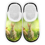 Easter Rabbits Women's Slippers Women Slippers Cozy Plush Plush Slip on Warm Slippers Lining Indoor Outdoor Bedroom Slippers Indoor Cozy
