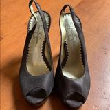 Jessica Simpson Shoes | Chocolate Brown Satin Pumps | Color: Brown/Gold | Size: 5.5