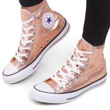 Converse Shoes | Converse Womens Rose Gold High Top Sneakers Htf | Color: Gold/Pink | Size: 6