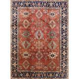 Charlton Home® Avak Oriental Orange/Blue/Brown Area Rug in Blue/Brown/Orange, Size 108.0 H x 84.0 W x 0.35 D in   Wayfair