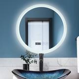 Ivy Bronx Stogner Lighted Bathroom Mirror in White, Size 23.5 H x 23.5 W x 0.2 D in | Wayfair 89F0D829DCAC47F8BBA704C63E4272D8