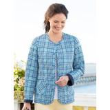 Women's Plaid Reversible Quilted Jacket, Classic Navy Multi P-L
