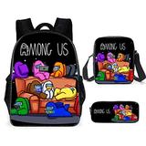 Among us Boys 3 Pieces Among us Design Bags Set Girls School Backpack Bookbag with Small Boys Lunch Box Pack +Pencil Bag Holder for Kids Student/B