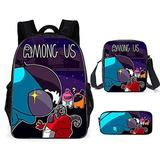 Among us Boys 3 Pieces Among us Design Bags Set Girls School Backpack Bookbag with Small Boys Lunch Box Pack +Pencil Bag Holder for Kids Student/H