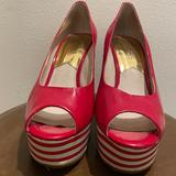 Michael Kors Shoes | Michael Kors Red Patent Leather Peeptoe Wedges | Color: Red | Size: 7.5