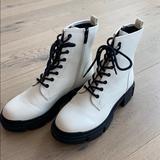 Nine West Shoes | Nine West Combat Boot | Color: White | Size: 7.5