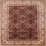 Alcott Hill® Chiles Oriental Dark Red/Beige Area Rug Polyester/Wool in Red/White, Size 84.0 H x 84.0 W x 0.35 D in | Wayfair