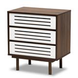 Baxton Studio Meike Mid-Century Modern Two-Tone Walnut Brown and White Finished Wood 3-Drawer Nightstand - Wholesale Interiors LV14COD14230WI-Columbia/White-3DW-Nightstand