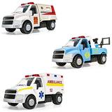 Corgi Chunkies City Service Armored Bank Security Truck, 24 Hour Tow Truck and First Response Ambulance Triple Pack Toy Vehicles CHP11