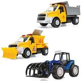 Corgi Chunkies City Service Road Works Contruction Dump Truck, Snow Plow and Tractor with Claw Grapple Triple Pack Toy Vehicles CHP13