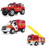 Corgi Chunkies Emergency Services Fire Department Off Road Truck, Fire Truck with Ladder and Rescue Truck Triple Pack Toy Vehicles CHP06