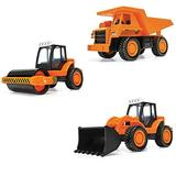 Corgi Chunkies Contruction Road Works Roller Truck, Front Loader Tractor and Dump Truck Triple Pack Toy Vehicles CHP03