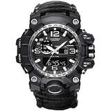 6-in-1 Outdoor Survival Watch,2021 Vikano Men and Women Digital Outdoor Sports Kits,Waterproof Emergency Survival Watches with Paracord,Whistle,Fire Starter,Scraper,Compass and Survival Gear (Black)