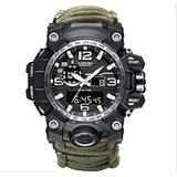 6-in-1 Outdoor Survival Watch,2021 Vikano Men and Women Digital Outdoor Sports Kits,Waterproof Emergency Survival Watches with Paracord,Whistle,Fire Starter,Scraper,Compass and Survival Gear (Green)