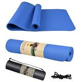 """Yoga Mat, Thick Non-Slip Exercise Mats for Home Workout, Pilates, Yoga, Exercise and Fitness, Yoga Mat Backpack (72"""" X 24"""" X 1/4"""") (Light Blue)"""