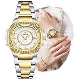 Womens Watches Luxury Gold and Silver Stainless Steel Waterproof Wrist Watches for Ladies Elegant Dress Quartz Gold Square Dial Date Womens Watches for Mother Day