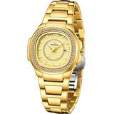 Watches for Womens Gold Tone Stainless Steel Waterproof Womens Wrist Watches Elegant Gold Square Dial Ladies Watches Analog Quartz Date Business Casual Female Watches Mothers Day