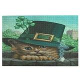 St Patricks Day Cat Clover Leprechaun Hat Pipe Kitty Large Jigsaw Puzzle 1000 Piece Puzzle Toy DIY with Educational Intellectual Fun Family Game Puzzle Art for Adult Kids