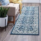 Shiloh Dark Blue 2x10 Runner Area Rug for Hallway, Walkway, Entryway, or Foyer - Traditional, Floral