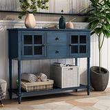 Bellemave Buffet Cabinet Sideboard Console Table, with Bottom Shelf, 2 Glass Front Cabinets and 2 Drawer Cabinet Buffet Cabinet, Suitable for Dining Room, Living Room, Entrance (Antique Navy)
