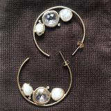 Anthropologie Jewelry | Anthropologie Gold Hoop Quartz Stone Earrings | Color: Gold/White | Size: Os
