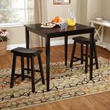 Gracie Oaks Cliodhna 3 Piece Counter Height Solid Wood Dining Set Wood in Black, Size 36.0 H x 35.5 W x 35.5 D in   Wayfair