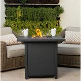 Latitude Run® Innocenzo Steel Propane Fire Pit Table Steel in Black/Brown/Gray, Size 24.0 H x 28.0 W x 28.0 D in | Wayfair
