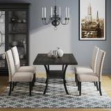 Industrial Lodge Home Javier 4 - Person Dining Set Wood/Metal/Upholstered Chairs in Black/Brown/Gray, Size 29.92 H x 37.99 W x 68.11 D in | Wayfair