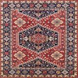 Bungalow Rose Mattes Oriental Red/Ivory/Blue Area Rug Polyester/Wool in Blue/Red, Size 48.0 H x 48.0 W x 0.35 D in | Wayfair