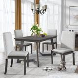 George Oliver Kenney 5 - Piece Breakfast Nook Dining Set Wood/Upholstered Chairs in Brown/Gray, Size 30.0 H x 36.0 W x 54.0 D in | Wayfair