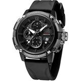 MEGALITH Men's Watch 50mm Rubber Chronograph Waterproof Large Face Watch Silicone Military Sport Analog Heavy Watches for Men Luminous Multifunctional Cool Designer Gents Wrist Watches Black White
