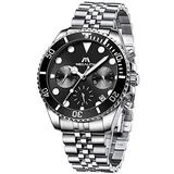 MEGALITH Men's Watch 41mm Stainless Steel Chronograph Waterproof Business Watch Analog Quartz Date Watches for Men Metal Luminous Multifunctional Casual Designer Gents Wrist Watches Silver Black