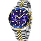 MEGALITH Men's Watch 41mm Stainless Steel Chronograph Waterproof Business Watch Analog Quartz Date Watches for Men Metal Luminous Multifunctional Casual Designer Gents Wrist Watches Gold Blue