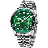 MEGALITH Men's Watch 41mm Stainless Steel Chronograph Waterproof Business Watch Analog Quartz Date Watches for Men Metal Luminous Multifunctional Casual Designer Gents Wrist Watches Silver Green