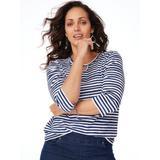 Women's Plus Three-Quarter Sleeve Parfait Keyhole Tee, Navy Stripe Blue 3XL
