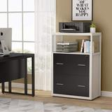 Inbox Zero 2-Drawer Lateral Filing Cabinet Wood in Black, Size 43.3 H x 23.6 W x 15.7 D in   Wayfair 078BDE42711940FE972F6A57652D4824