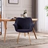 Corrigan Studio® Gedda Fabric Upholstered Solid Back Arm Chair in Dark Purple Upholstered in Brown/Green/Indigo, Size 32.0 H x 26.77 W x 18.5 D in