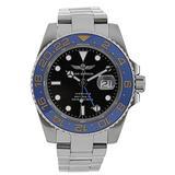 Time Warrior GMT Navy Seal Swiss Men's GMT Watch Black Dial, 316L CASE - Ceramic Bezel, Swiss Quartz Movement, Men's Watch Pro Diver Watch, Sapphire Glass (Blue)