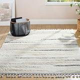 "Home Dynamix The Spruce Marcella Emily Geometric Stripe Shag Area Rug, Ivory/Gray, 5'2""x7'2"" Rectangle"