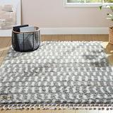 """Home Dynamix The Spruce Marcella Louise Geometric Stripe Shag Area Rug, Gray/Ivory, 5'2""""x7'2"""" Rectangle"""