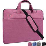 "14-15.4 Inch Laptop Sleeve Case Cover Bag with Hidden Handle and Adjustable Shoulder Strap Fit Acer Chromebook 14, HP Stream 14"",15 Inch MacBook Pro,LG Gram 14,Dell Samsung Lenovo Laptop Bag,Light Red"