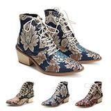 Women's Vintage Ankle Boots Embroidered Low Block Heel with Pointed Toe Lace up Ankle Bootie for Women Floral Dress Short Booties Chunky Stacked Block Heels Cowboy Boots Blue 7