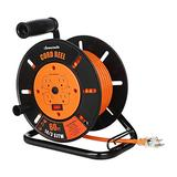 DEWENWILS 60FT Open Cord Reel, Heavy Duty Extension Cord Reel with 4-Grounted Outlets, Hand Wind Retractable, 14/3 AWG SJTW, 13 Amp Circuit Breaker, ETL Listed