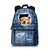 15.5 inch Cute Denim Dog Backpack Canvas Casual Laptop School Backpack Rucksack