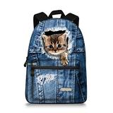 15.5 inch Cute Denim Cat Backpack Canvas Casual Laptop School Backpack Rucksack